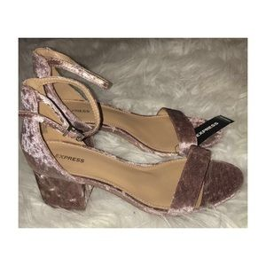Express Velvet Rose Gold Block Sandal